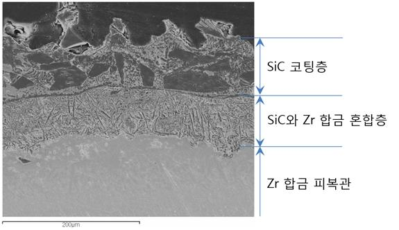 (사진)_지르코늄 합금 금속 핵연료 피복관에 SiC를 쌓아올린 하이브리드 미세조직 현미경 관찰